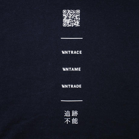UNTRACE BACK QR PRINT/FRONT THE FUTURE STARTS TODAY. STITCH HOODIE (Navy×White)