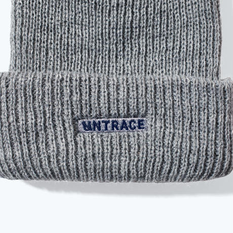 UNTRACE LOGO EMBROIDERED BEANIE (Gray×Navy)