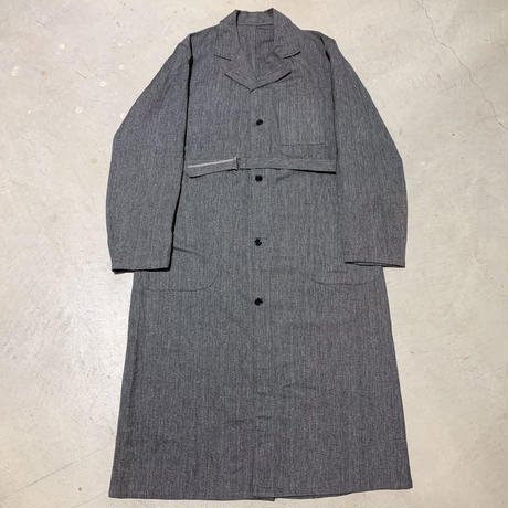 1950's French Unknown Black Chambray Atelier Coat