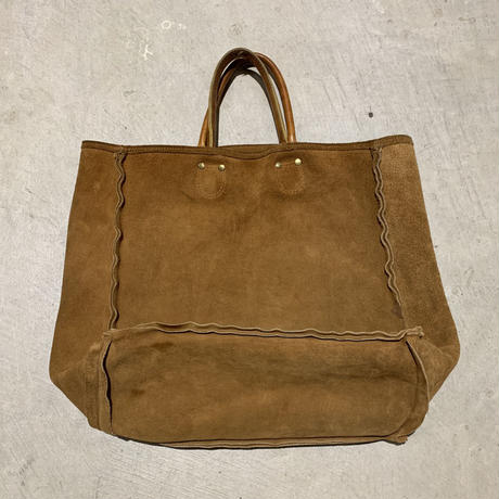 1970's Unknown Suede Leather Tote Bag