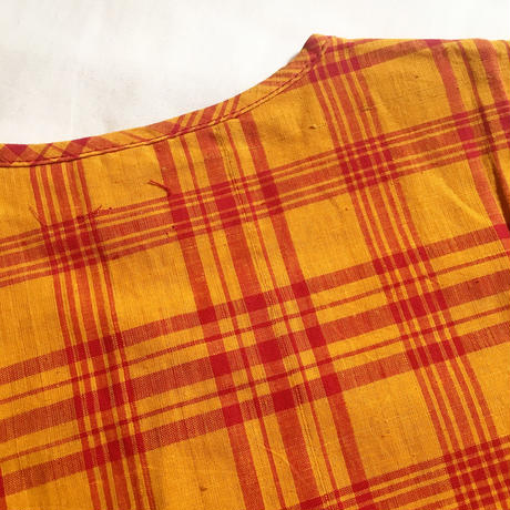 1960's DONEGAL Indian Madras Henlyneck S/S Shirt Deadstock