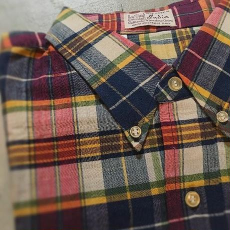 1960's Unknown Indian Madras L/S Shirt Deadstock