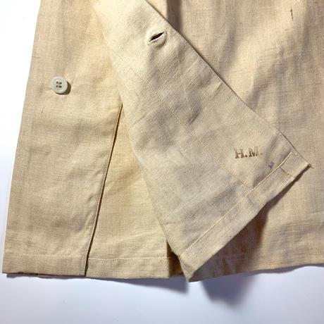 1940's〜 French Military Hospital Linen S/S Shirt Deadstock