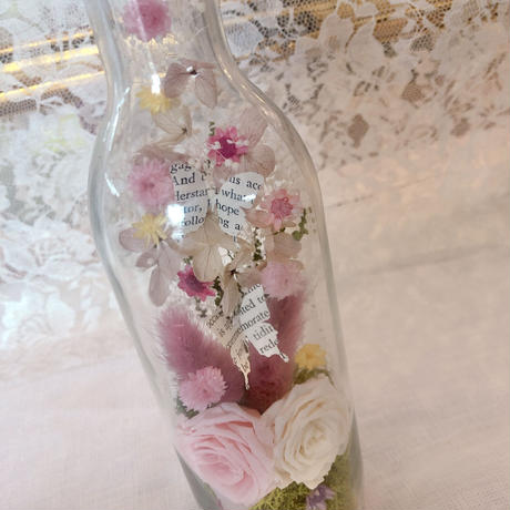 Antique bottle flower botanical pink