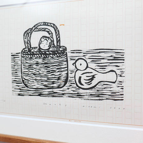 平岡瞳 木版画「旅のメモ 3」