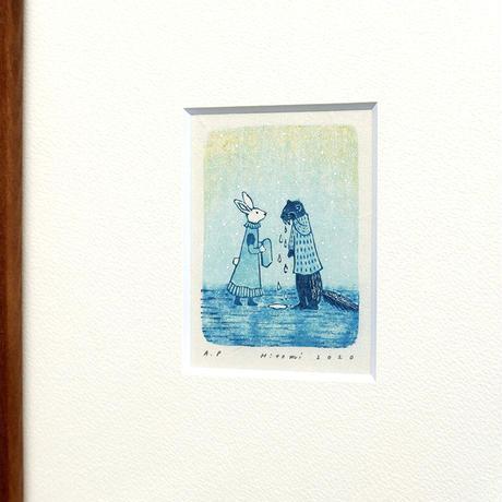 平岡瞳 版画「まっくろいたちのレストラン」21