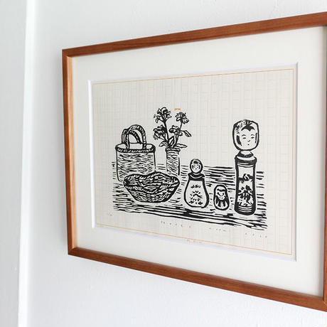平岡瞳 木版画「旅のメモ 2」