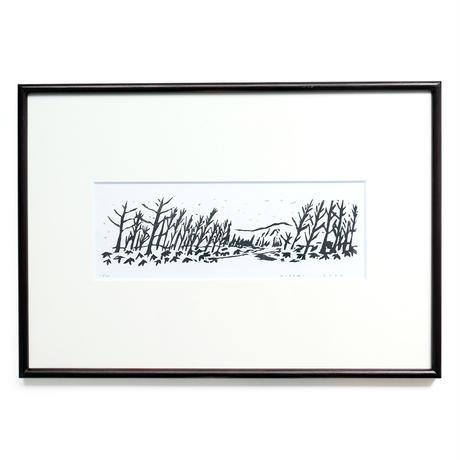 平岡瞳 木版画「山が見える風景」