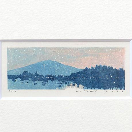 平岡瞳 木版画「日暮れ」