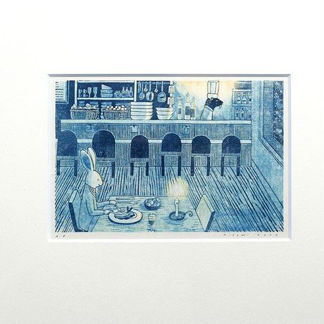 平岡瞳 版画「まっくろいたちのレストラン」 09