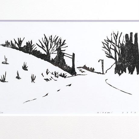 平岡瞳 木版画「山道」