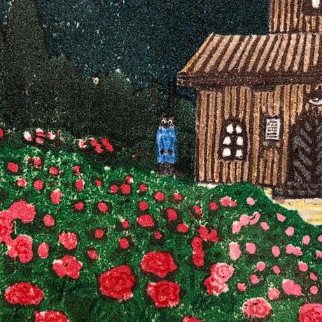 平岡瞳 版画「まっくろいたちのレストラン」19