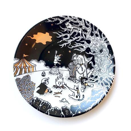 石黒亜矢子 絵皿「ビッギーと星を追う子供達と猫」