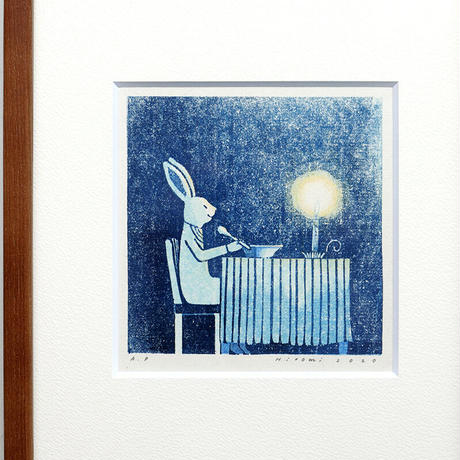 平岡瞳 版画「まっくろいたちのレストラン」08