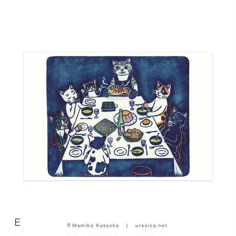 片岡まみこ「まんげつの夜、どかんねこのあしがいっぽん」ポストカード