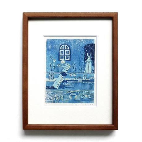平岡瞳 版画「まっくろいたちのレストラン」12