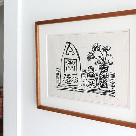 平岡瞳 木版画「旅のメモ 1」
