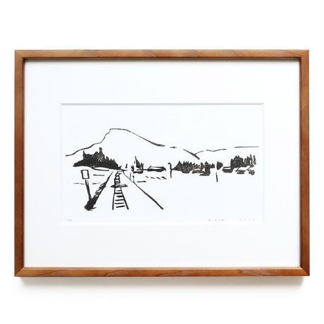 平岡瞳 木版画「線路沿いの風景」