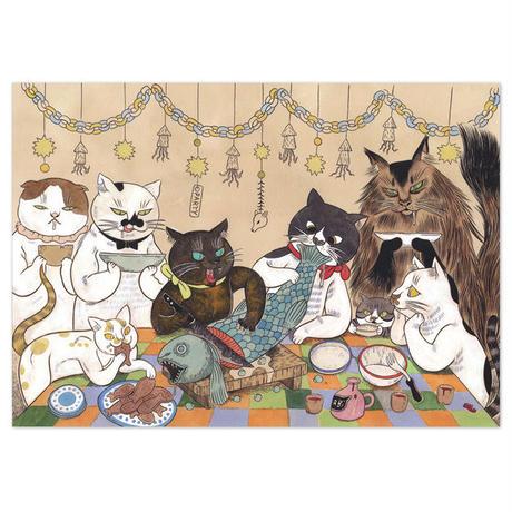 石黒亜矢子「飼い猫のパーティ」A4ポストカード