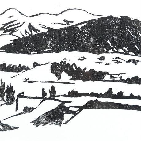 平岡瞳 木版画「温泉地」