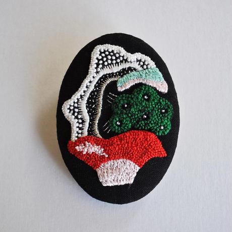 ハヤシミワコ ブローチA(緑)