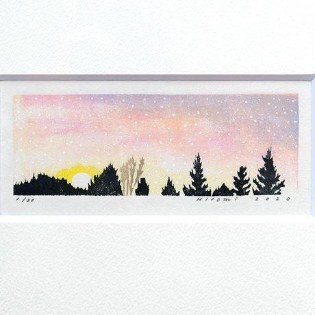 平岡瞳 木版画「夕方 2」