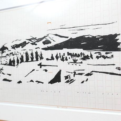 平岡瞳 木版画「旅のメモ 4」