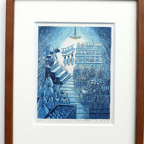 平岡瞳 版画「まっくろいたちのレストラン」 04