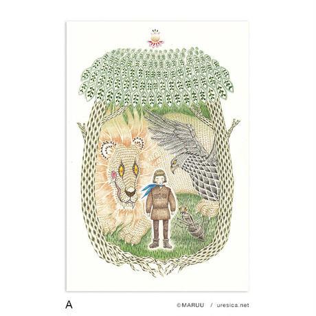 MARUU「ライオンとタカとアリになった男の子」ポストカード