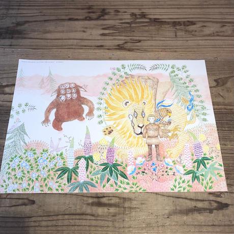 MARUU「ライオンとタカとアリになった男の子」A3ポスター