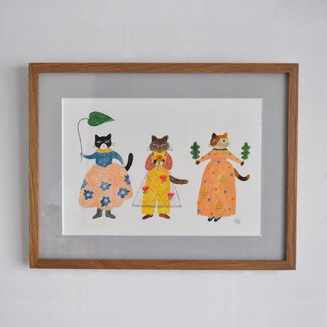 布川愛子 作品「3匹のねこ」