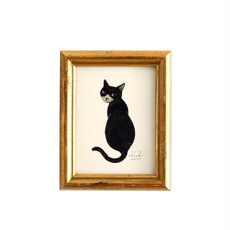 坂本千明 紙版画「猫5」*額装品