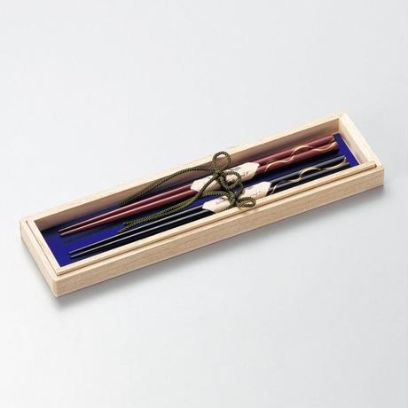 ライン蒔絵 ふたり箸(黒・朱)2膳セット