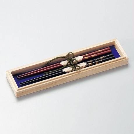 ハート唐草蒔絵 ふたり箸(黒・朱)2膳セット