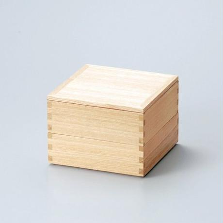 白木塗タモ50二段重(内朱)