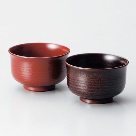地の粉羽反夫婦汁椀(古代朱・溜)