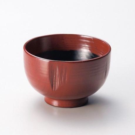 荒挽き 汁椀(古代朱)