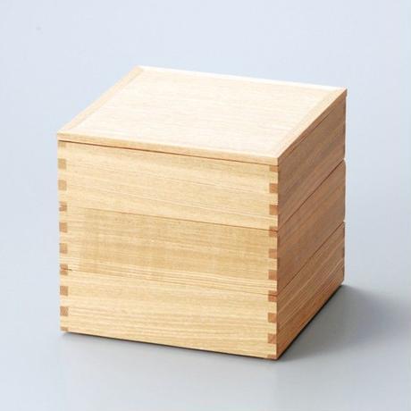 白木塗タモ60三段重(内朱)