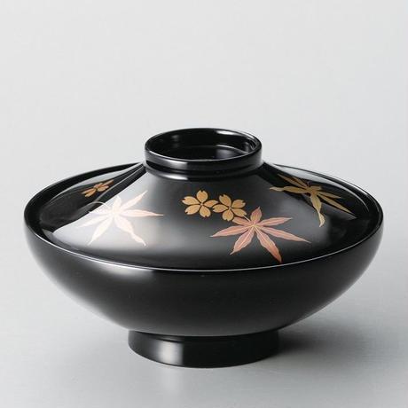 春秋 富士型煮物椀(黒)5客セット