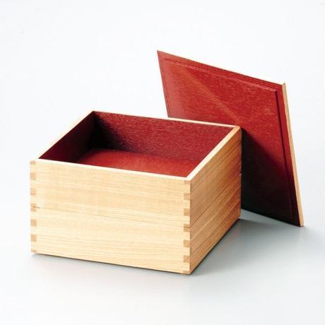 白木塗タモ60二段重(内朱)