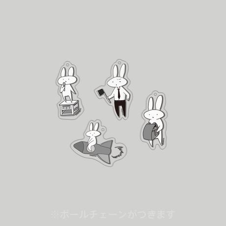 うさぎストライプのうさぎストラップ(単品)