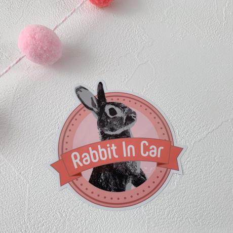Rabbit in Car ribon ステッカー[Sticker for  cars]