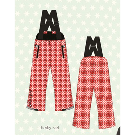 ducksday Winterpants with braces Funky red ( 8y / 10y / 12y )