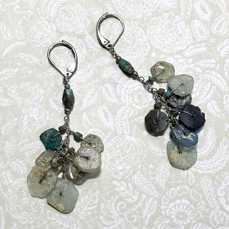 "pierce / earring ""roman glass""「彩りローマングラス」"