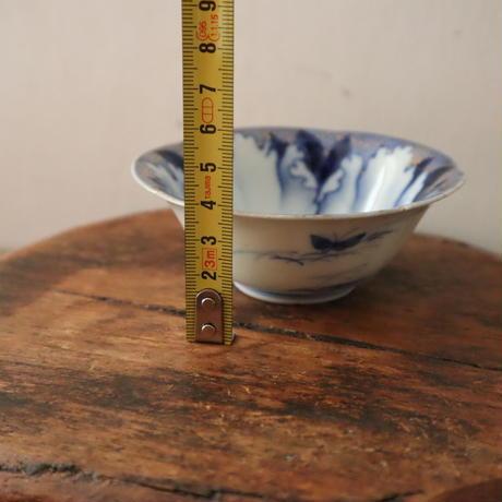 A002【小鉢】 深川製磁 牡丹金ミル 金彩印判染付け 花輪 小鉢3点
