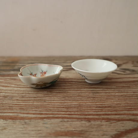 A001【豆皿】印判染付け色絵 いろいろ3種5点