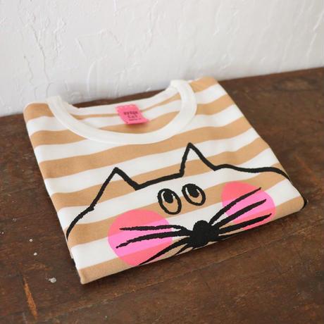 ▲送料無料 110サイズ/半そで ねこもぐらさん Tシャツ しましま オーガニックコットン スモーキーアプリコット ボーダー ほっぺあり 1210番目のねこもぐらさん
