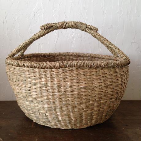 ベトナムのまるっこい手づくりかご handmade シーグラス ラウンド バスケットA Mサイズ AM-77