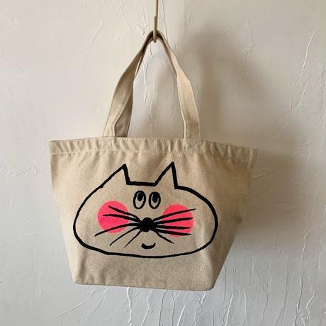 ▲送料無料 Sサイズ/キャンバス生地 ねこもぐらさん トートバッグ uyoga cat mole ナチュラル ほっぺあり 1236番目のねこもぐらさん