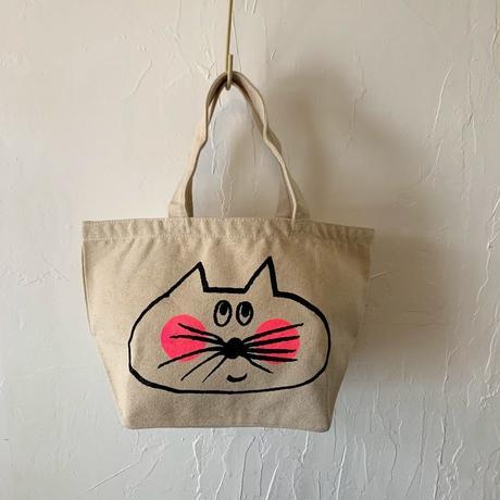 ▲送料無料 Sサイズ/キャンバス生地 ねこもぐらさん トートバッグ uyoga cat mole ナチュラル ほっぺあり 1237番目のねこもぐらさん